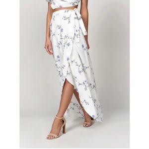 White Floral Wrap Maxi Skirt
